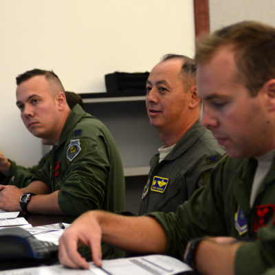 Col. John R. Edwards, 28th Bomb Wing Commander, attends a step-brief before his flight at Ellsworth Air Force Base, S.D., Sept. 6, 2017. This flight provides Edwards a firsthand experience of the 28th BW's mission. (U.S. Air Force photo by Airman 1st Class Donald C. Knechtel)
