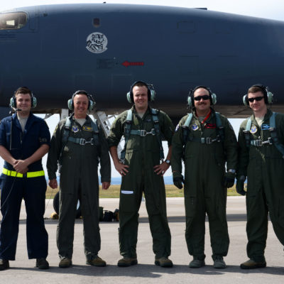 Col. John R. Edwards, 28th Bomb Wing Commander, poses for a group photo with his aircrew at Ellsworth Air Force Base, S.D., Sept. 6, 2017. During the flight, Edwards was able to observe the Ellsworth flying training program and participate in a high-value training scenario. (U.S. Air Force photo by Airman 1st Class Donald C. Knechtel)