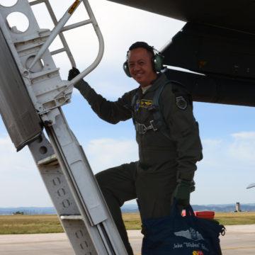 Former Civil Air Patrol Cadet, Colonel John R. Edwards takes first flight as Bomb Wing Commander