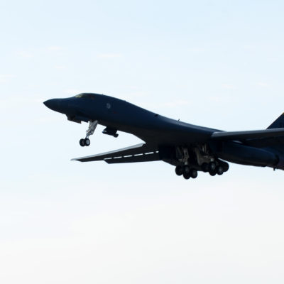 A B-1 with Col. John R. Edwards, 28th Bomb Wing Commander, and three other aircrew members, takes off from Ellsworth Air Force Base, S.D., Sept. 6, 2017. This flight was one of Edwards' many firsthand experiences of the Ellsworth mission. (U.S. Air Force photo by Airman 1st Class Donald C. Knechtel)